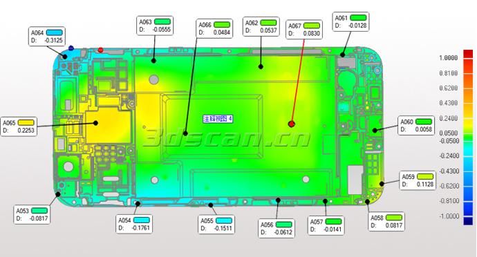 手机面壳扫描三维检测图